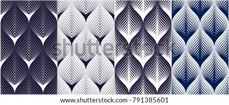 Abstract lines geometric seamless patterns set, vector repeat endless fabric backgrounds collection. Floral leaves or fish squama shapes trendy motif. Single color, black and white.