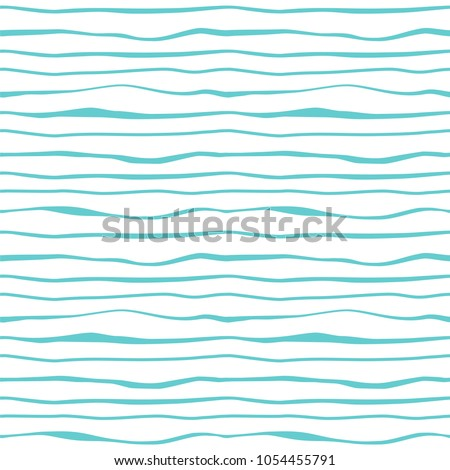 Abstract lines waves seamless pattern. Striped minimalistic monochrome background. Ocean, sea water. Vector wavy decorative texture for textile prints, covers, wallpaper, wrapping paper, scrapbooking. - Shutterstock ID 1054455791