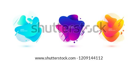 Abstract liquid shape. Fluid design. Isolated gradient waves with geometric lines, dots. Vector illustration. stock photo