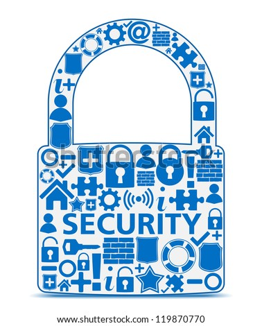Abstract lock made of security icons, security concept, vector eps10 illustration