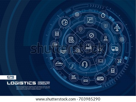 Abstract logistic and distribution background. Digital connect system with integrated circles, glowing line icons. Virtual, augmented reality interface concept. Vector future infographic illustration