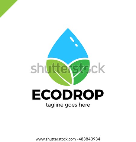 Abstract logo for business company. Corporate identity design element. Eco nature, spa, aqua Logotype idea. Water drop and leaf, environment, natural liquid, save concept.