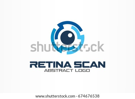 Abstract logo for business company. Corporate identity design element. Retina circle scanner, personality eye identification, iris id lock logotype idea. Security, protect concept. Color Vector icon