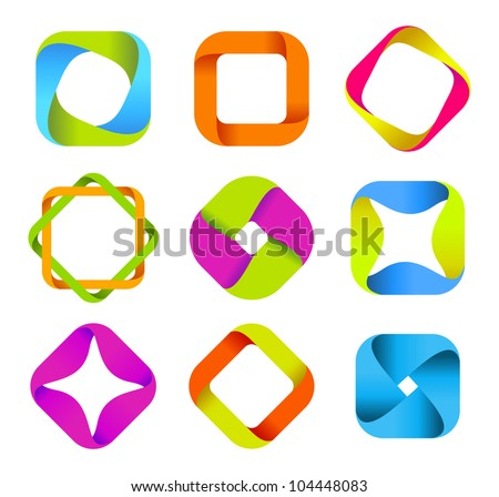 Abstract Logo Identity Infinite shapes Square set.