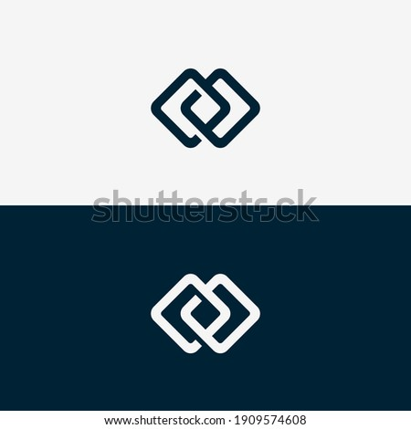 Abstract Logo template shape square with round in line. Foto d'archivio ©