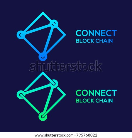 Abstract Logos Colorful Dots logo with Modern line Cross Square shape, Connect Technology and Digital, Blockchain, Bitcoin Cryptocurrency data concept for your Corporate identity