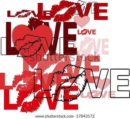 abstract love design with lips