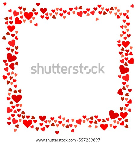 Abstract love for your Valentines Day greeting card design. Red Hearts frame isolated on white background. Vector illustration.