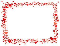 Abstract love for your Valentines Day greeting card design. Red Hearts horizontal frame isolated on white background. Vector illustration.