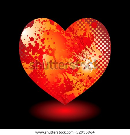 Abstract love heart valentines day concept with ink splat pattern