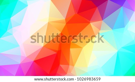 Abstract low poly background of triangles in Red, green, turquoise, multicolor colors. Substrate for design. 16:9