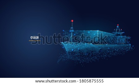 Abstract low poly 3d cargo ship isolated in dark blue background. Container ships, transportation, logistics or international shipping concept. Digital vector mesh illustration looks like starry sky
