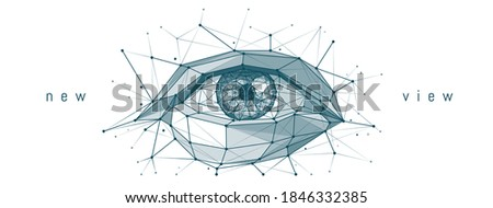 Abstract low poly 3d illustration of human eye isolated in white background. Digital polygonal mesh wireframe with lines, dots and triangles. Medicine, view, organ of vision or health concept