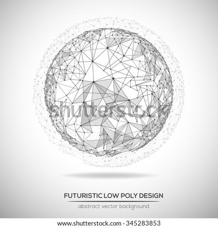 Abstract low poly geometric technology vector design element. Polygonal vector molecule and communication background.