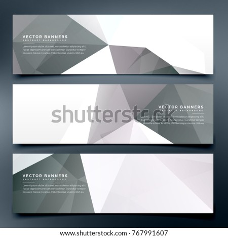 abstract low poly header banners set background