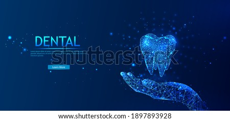 Abstract low-poly shiny bright tooth illustration. Dental care, dental clinic, dental medicine concept Medical healthy human tooth 3d. The model of medicine is low-poly. Dentist white toothpaste.