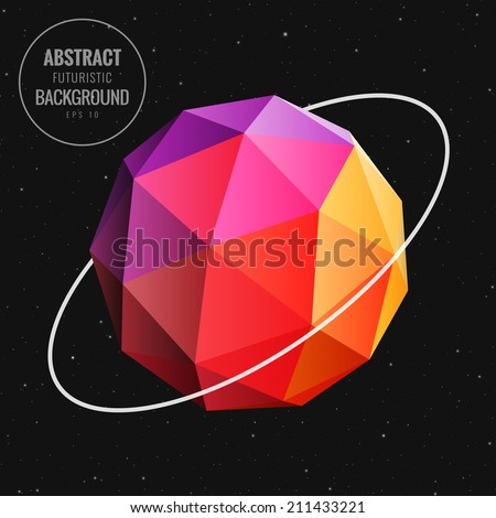 Abstract low poly sphere in universe