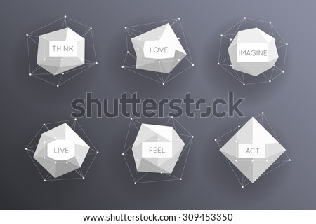 Abstract low polygonal modern labels. Template creative element. Vector illustration