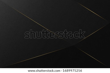 Abstract luxury background. Diagonal and gold lines on black texture background. Vector illustration.