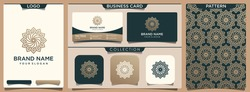 abstract luxury flower logo with set of pattern and business card design template.