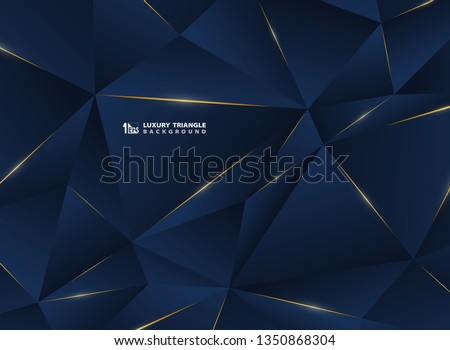 Abstract luxury golden line with classic blue template premium background. Decorating in pattern of premium polygon style for ad, poster, cover, print, artwork. illustration vector eps10