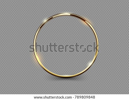 Abstract luxury golden ring on transparent background. Vector light circles spotlight light effect. Gold color round frame