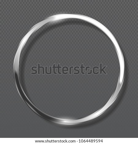 Abstract luxury metallic ring on transparent background. Silver color round frame.