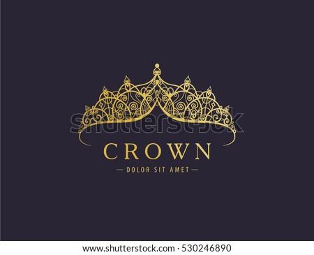 Abstract luxury, royal golden company logo icon vector design. Elegant crown, tiara, diadem premium symbol. Hand drawn lace jewelry, arabic, restaurant, hotel logotype. Сток-фото ©