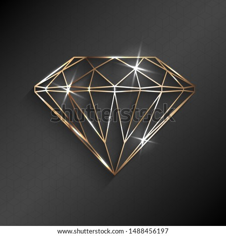 Abstract luxury template with gold diamond outlined shape - eps10 vector background