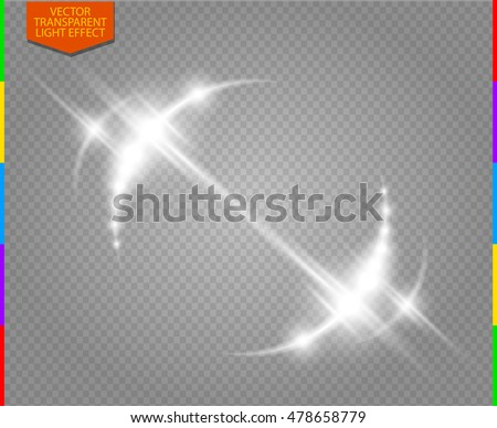 Abstract luxury white vector light flare semicircle and spark light effect. Sparkling glowing round frame on transparent. Starlight moving background. Glow blurred space for message or logo