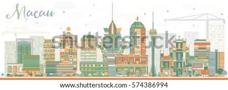 abstract macau skyline with