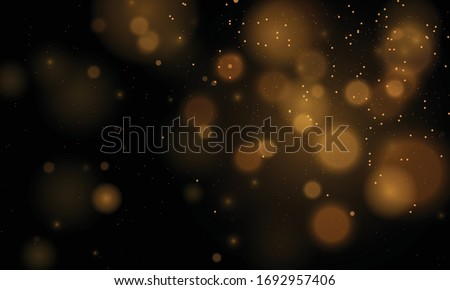 Abstract magical bokeh lights effect background, black, gold glitter for Christmas, for your banner, post