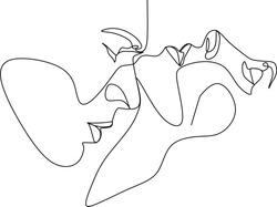 Abstract man and woman touch  by one line vector drawing. Portrait minimalistic style. Botanical print. Nature symbol of cosmetics. Modern continuous line art. Fashion print. Beaty salon