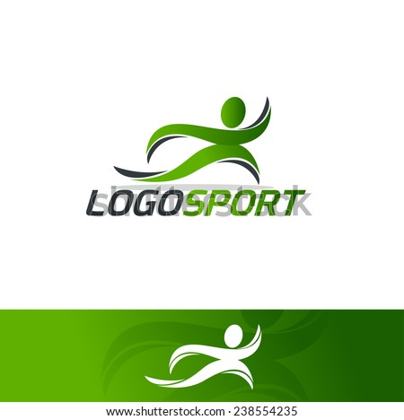 abstract man design concept Academy, sports club, running club and fitness vector logo design template