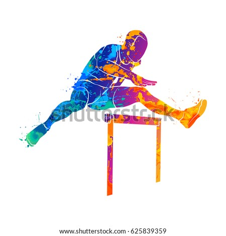 stock-vector-abstract-man-jumping-over-hurdles-from-splash-of-watercolors-vector-illustration-of-paints
