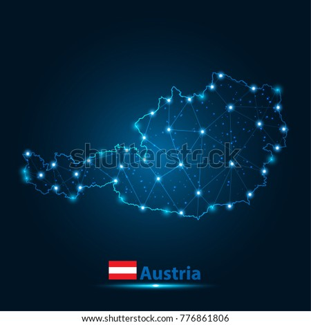 Abstract map of austria with nodes linked by lines arranged. 3d mesh .vector illustration.