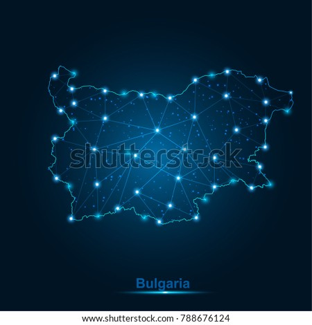 Abstract map of Bulgaria with nodes linked by lines arranged. 3d mesh .vector illustration.