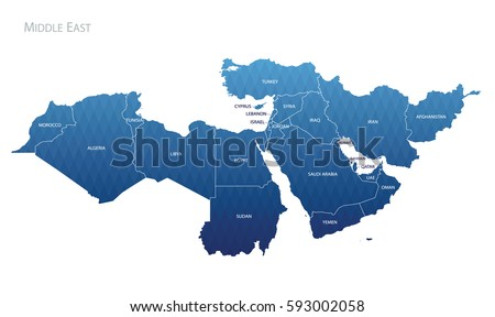 Abstract Map of Middle East. Vector
