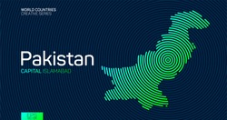 Abstract map of Pakistan with circle lines