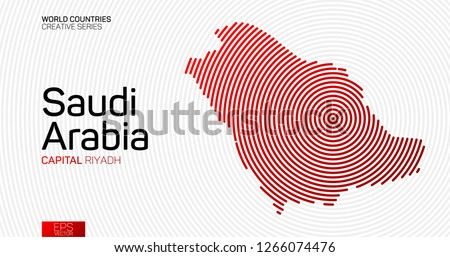 Abstract map of Saudi Arabia with red circle lines