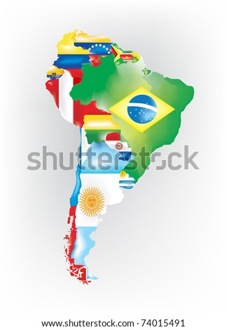 Abstract map of south america colored by flags