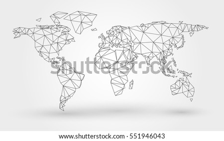 Free world map 45 lines vector abstract map of the world with connected triangular shapes formed from lines gumiabroncs Choice Image