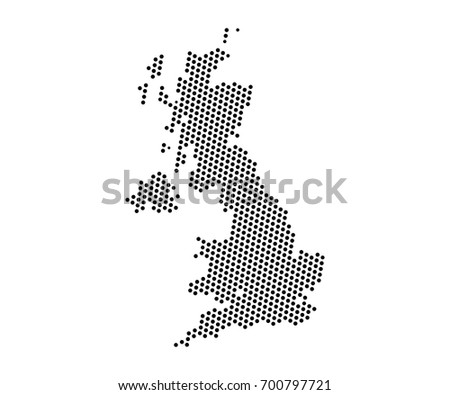 Abstract map of United kingdom dots planet, lines, global world map halftone concept. Vector illustration eps 10.