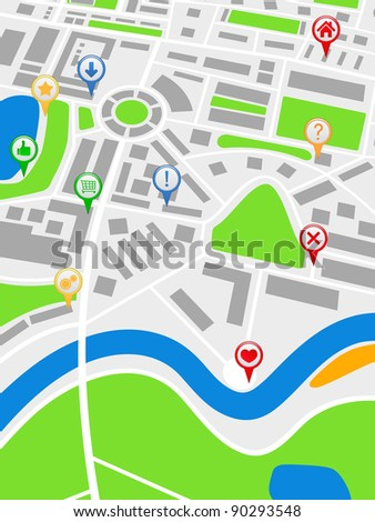 Abstract map with pointers, vector illustration
