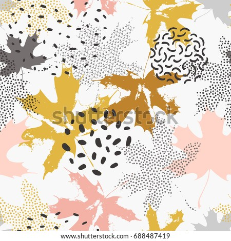 abstract maple leaves seamless