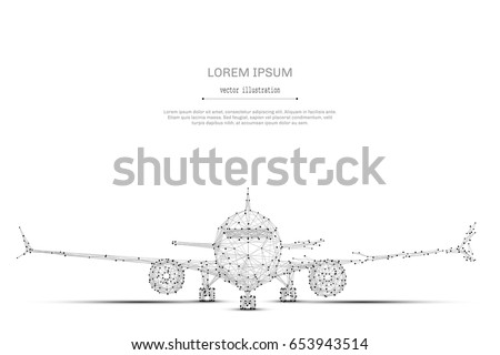 Abstract mash line and point airliner on white background with an inscription. Air starry sky or space, consisting of stars and the universe. Vector speed and business illustration