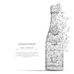 Abstract mash line and point bottle of champagne on white background with an inscription.  Vector luxury illustration