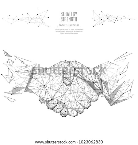 Abstract mash line and point Business handshake origami on white background with an inscription. Starry sky or space, consisting of stars and the universe. Vector business illustration