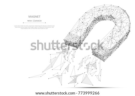 Abstract mash line and point magnet origami on white background with an inscription. Starry sky or space, consisting of stars and the universe. Vector low poly wireframe illustration