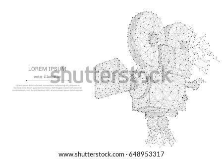 Abstract mash line and point Movie Camera on white background with an inscription. Starry sky or space, consisting of stars and the universe. Vector business cinema illustration.